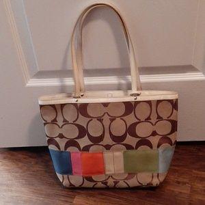 Coach brown, tan & multicolor stripe w/dust cover